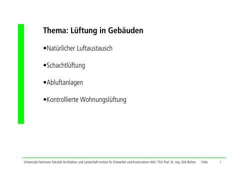 Vorlesung Lüftungssysteme I - Unics.uni-hannover.de