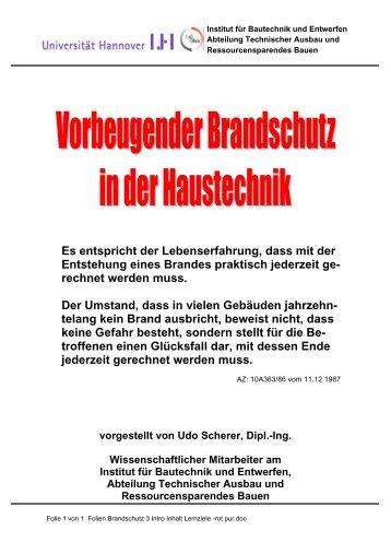 01 Folien Brandschutz 3 Intro Inhalt Lernziele - Unics.uni-hannover.de