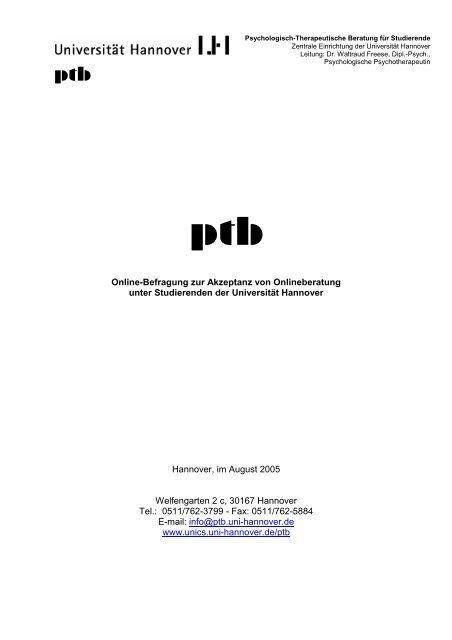 Onlinebefragung 2005 - Unics.uni-hannover.de