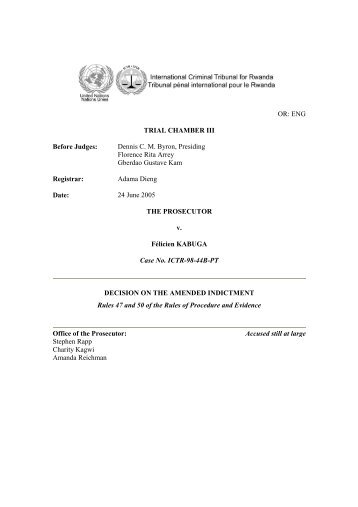 decision on the amended indictment - International Criminal ...