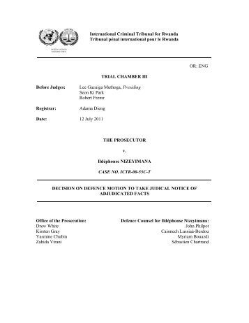 decision on defence motion to take judical notice of adjudicated facts