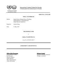 judgement and sentence - International Criminal Tribunal for Rwanda