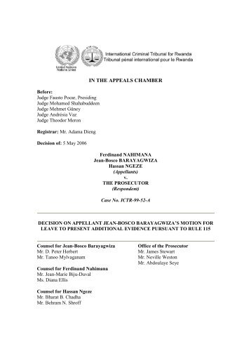 decision on appellant jean-bosco barayagwiza's motion for leave to ...