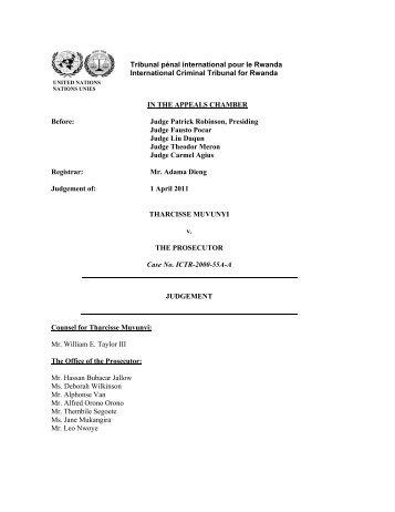 Appeal Judgement - International Criminal Tribunal for Rwanda