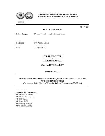DECISION ON THE PROSECUTOR'S REQUEST FOR LEAVE TO ...