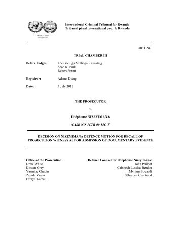 DECISION ON NIZEYIMANA DEFENCE MOTION FOR RECALL OF ...