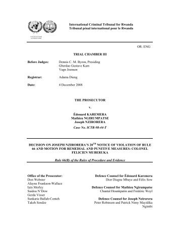 ENG TRIAL CHAMBER III Before Judges - International Criminal ...