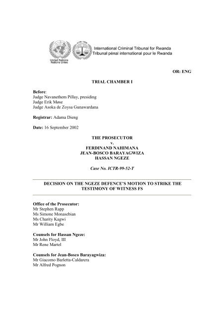 decision on the ngeze defence's motion to strike the testimony of ...