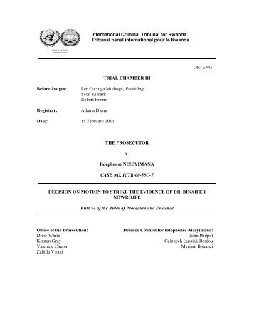 DECISION ON MOTION TO STRIKE THE EVIDENCE OF DR ...