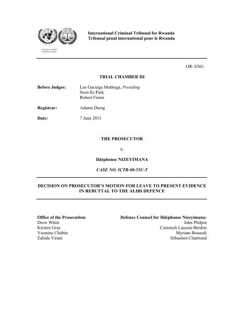 decision on prosecutor's motion for leave to present evidence in ...