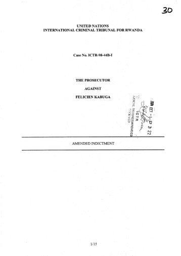 Indictment - International Criminal Tribunal for Rwanda