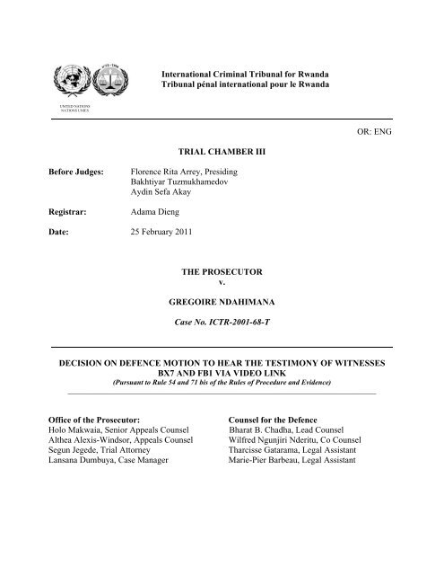 DECISION ON DEFENCE MOTION TO HEAR THE TESTIMONY OF ...