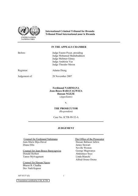 Appeals Chamber - International Criminal Tribunal for Rwanda