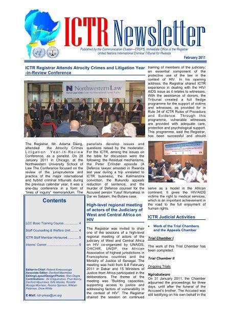 ICTR Newsletter, February 2011 - International Criminal Tribunal for ...