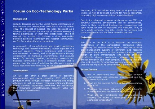 Forum on Eco-Technology Parks - Unido