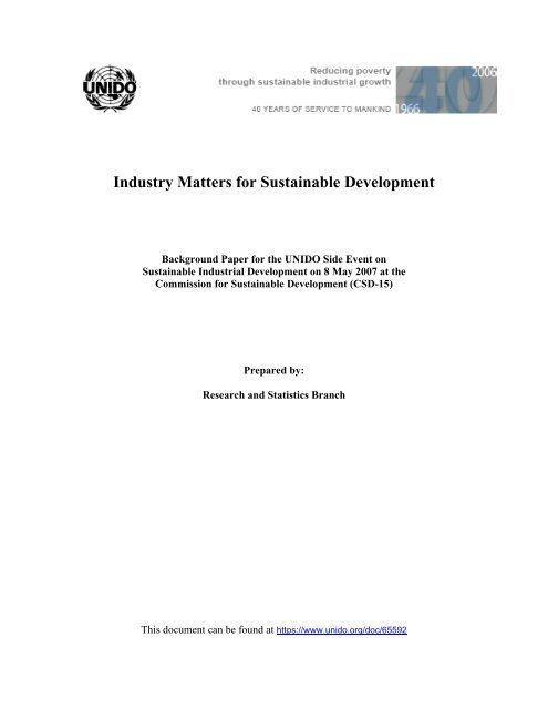 Industry Matters for Sustainable Development - Unido