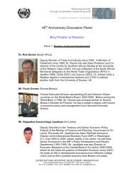 40 Anniversary Discussion Panel Brief Profiles of Panelists - Unido
