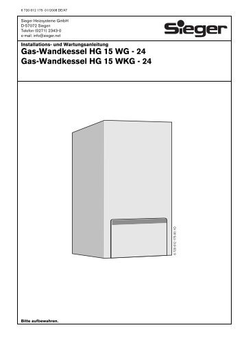 Gas-Wandkessel HG 15 WG - 24 Gas-Wandkessel HG 15 WKG