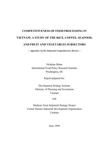 COMPETITIVENESS OF FOOD PROCESSING IN VIETNAM ... - Unido