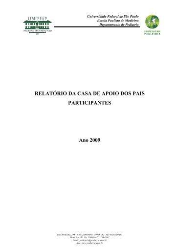 RELATÓRIO DA CASA DE APOIO DOS PAIS ... - Unifesp