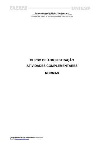 curso de administração atividades complementares normas - UNIESP