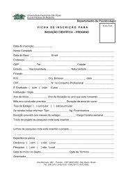 ficha de inscrição INICIAÇÃO CIENTÍFICA - Unifesp
