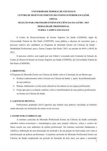 1 UNIVERSIDADE FEDERAL DE SÃO PAULO CENTRO ... - Unifesp