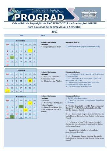 Calendário de Reposição do ANO LETIVO 2012 da ... - Unifesp