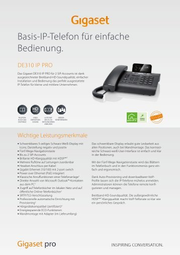 Datenblatt Gigaset DE310 IP PRO - Unified Solution GmbH