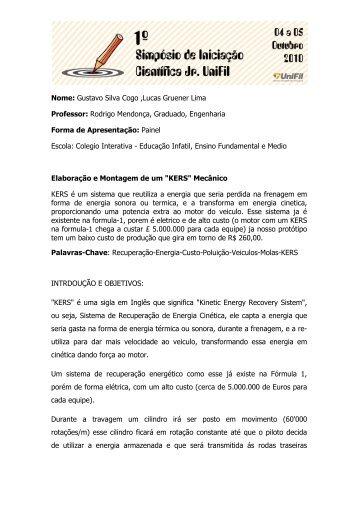 Nome: Gustavo Silva Cogo ,Lucas Gruener Lima Professor ... - UniFil