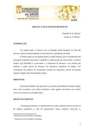 SHIATSU E SEUS EFEITOS BENÉFICOS - UniFil