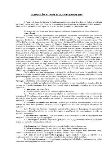 Clique aqui para fazer download da Resolução nº196 de 10 ... - UniFil