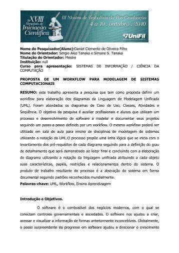Nome do Pesquisador(Aluno):Daniel Clemente de Oliveira ... - UniFil
