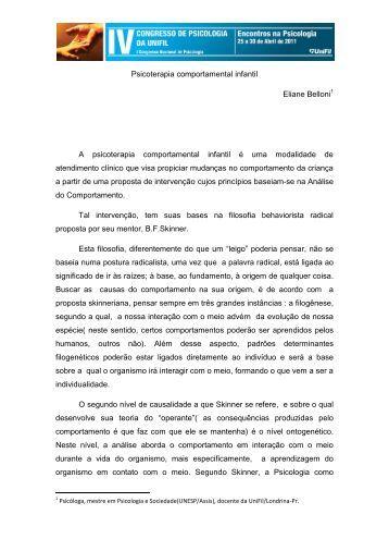 Psicoterapia comportamental infantil Eliane Belloni A ... - UniFil