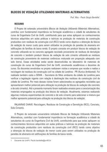 Blocos de Vedação Utilizando Materiais Alternativos - UniFil