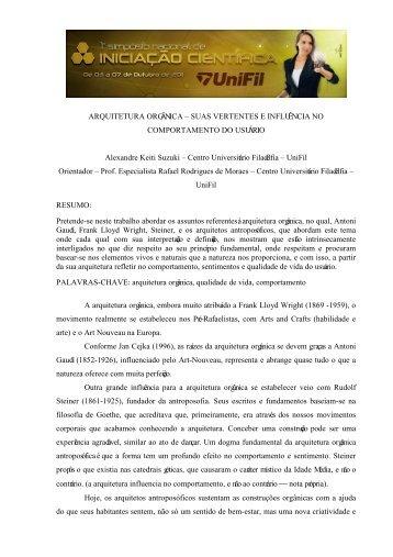 ARQUITETURA E URBANISMO - UniFil
