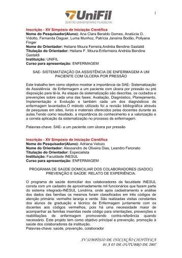 Anais Enfermagem - UniFil