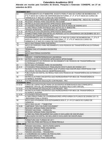 Calendário Acadêmico 2012 - UniFil