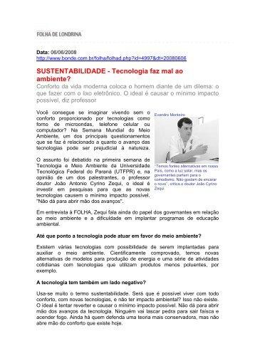 SUSTENTABILIDADE - Tecnologia faz mal ao ambiente? - UniFil