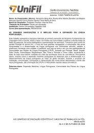 XVI SIMPÓSIO DE INICIAÇÃO CIENTÍFICA E I MOSTRA DE ... - UniFil