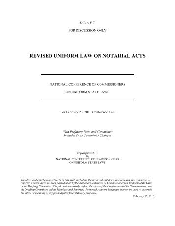 February 2010 Conference Call Draft - Style Rev. - Uniform Law ...