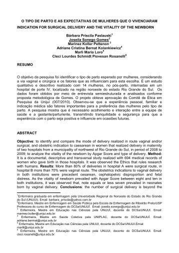 1 O TIPO DE PARTO E AS EXPECTATIVAS DE MULHERES ... - Unifra