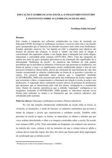 EDUCAÇÃO E LEMBRANÇAS DA ESCOLA: O IMAGINÁRIO ... - Unifra