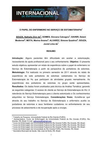O PAPEL DO ENFERMEIRO NO SERVIÇO DE ... - Unifra