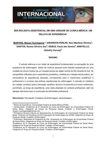 SER BOLSISTA ASSISTENCIAL EM UMA UNIDADE DE ... - Unifra