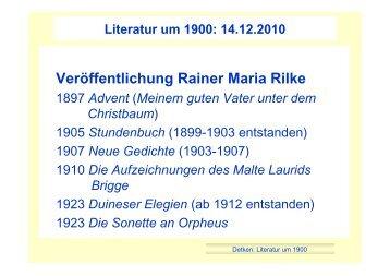 Veröffentlichung Rainer Maria Rilke