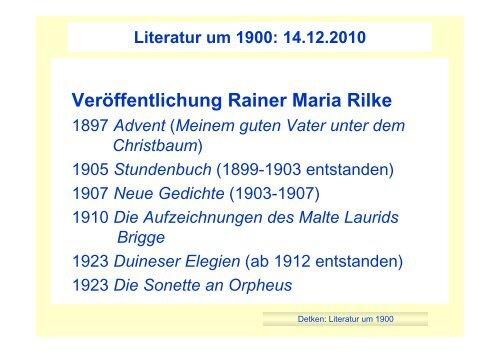 Verãffentlichung Rainer Maria Rilke