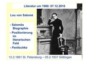 Lou von Salomé 12.2.1861 St. Petersburg – 05.2.1937 Göttingen ...