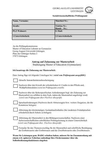 Antrag auf Zulassung zur Masterarbeit Studiengang Master of ...