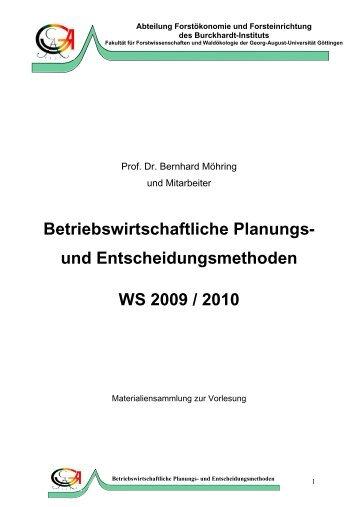 Betriebswirtschaftliche Planungs - Georg-August-Universität Göttingen